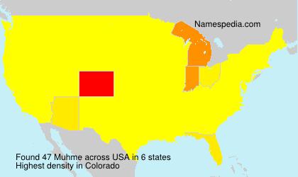 Familiennamen Muhme - USA