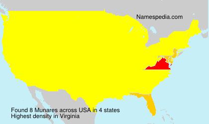 Familiennamen Munares - USA