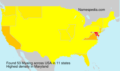Surname Myaing in USA