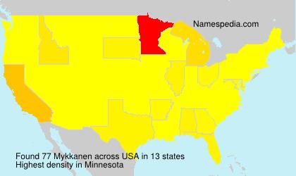 Surname Mykkanen in USA