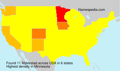 Surname Myklestad in USA