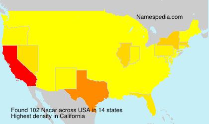 Familiennamen Nacar - USA