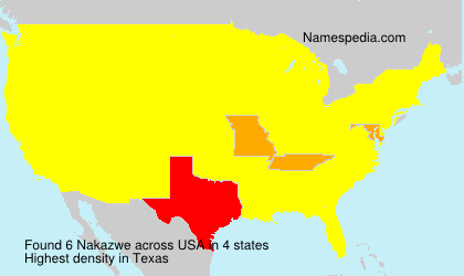 Surname Nakazwe in USA