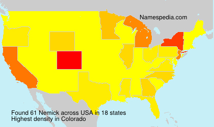 Surname Nemick in USA