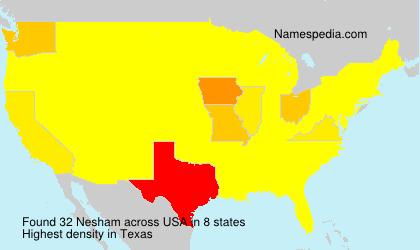 Surname Nesham in USA