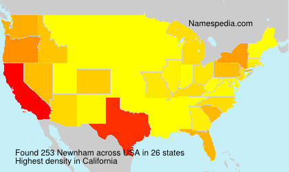 Surname Newnham in USA