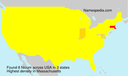 Surname Nicum in USA