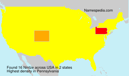Surname Nintze in USA