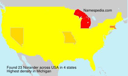 Surname Norander in USA