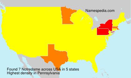 Surname Notredame in USA