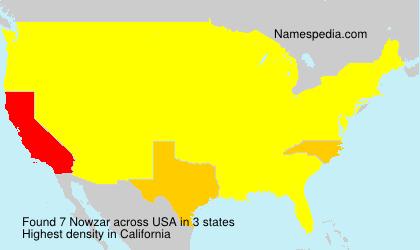 Familiennamen Nowzar - USA
