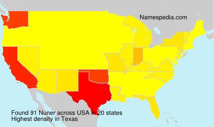 Familiennamen Nuner - USA