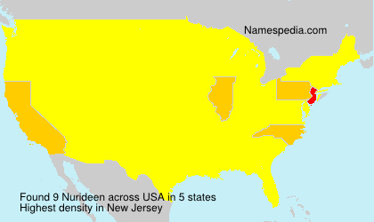 Surname Nurideen in USA