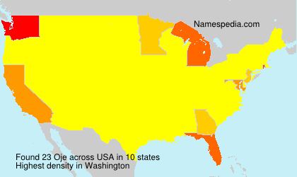 Surname Oje in USA