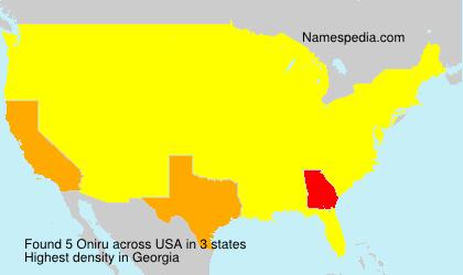 Familiennamen Oniru - USA