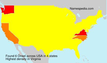 Familiennamen Onsel - USA