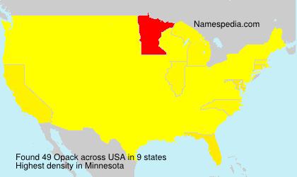 Familiennamen Opack - USA