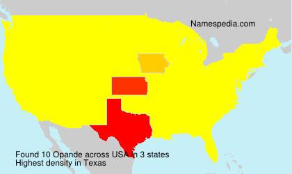 Familiennamen Opande - USA