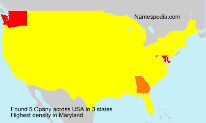 Familiennamen Opany - USA