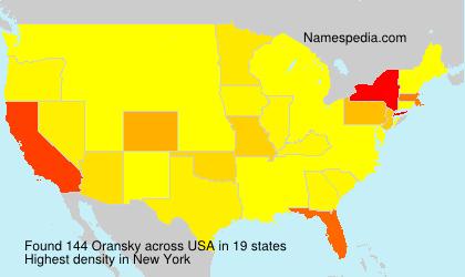 Familiennamen Oransky - USA