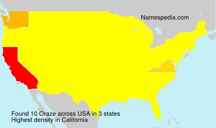 Surname Oraze in USA