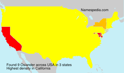 Surname Osiander in USA