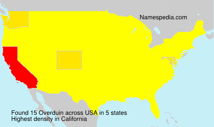 Surname Overduin in USA
