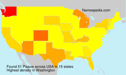 Surname Paauw in USA
