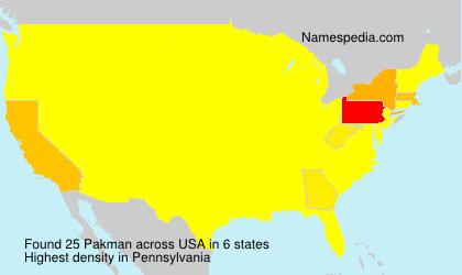 Familiennamen Pakman - USA