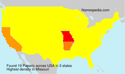 Familiennamen Paparic - USA