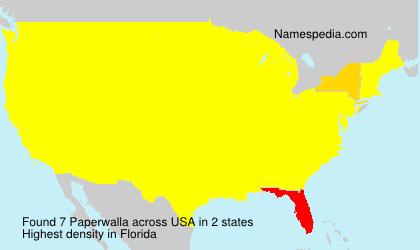 Familiennamen Paperwalla - USA