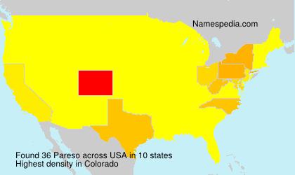 Surname Pareso in USA