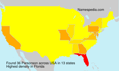 Surname Parsonson in USA
