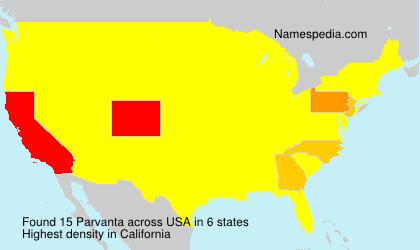 Familiennamen Parvanta - USA