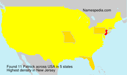 Surname Patnick in USA
