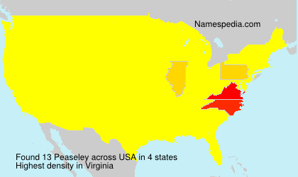 Surname Peaseley in USA