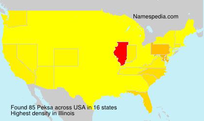 Familiennamen Peksa - USA