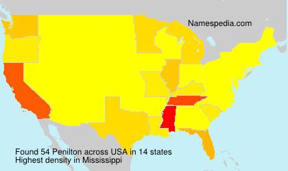 Familiennamen Penilton - USA