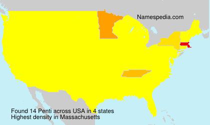 Surname Penti in USA