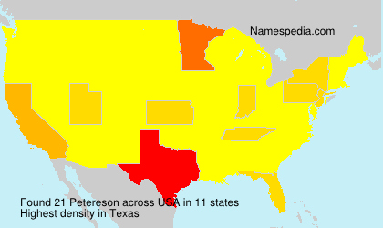 Surname Petereson in USA
