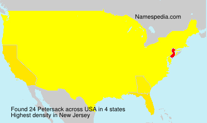 Familiennamen Petersack - USA