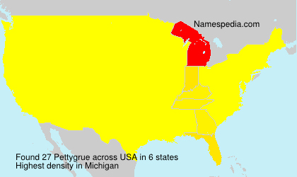 Surname Pettygrue in USA