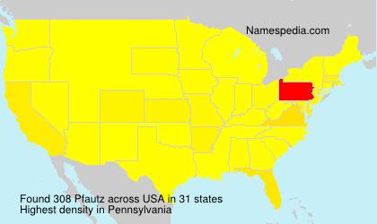 Surname Pfautz in USA
