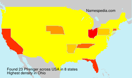 Surname Pfrenger in USA