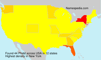 Surname Phidd in USA