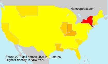 Familiennamen Picoli - USA