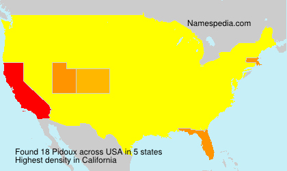 Surname Pidoux in USA