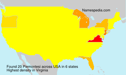 Familiennamen Piemontesi - USA