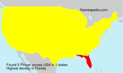 Surname Piriyan in USA
