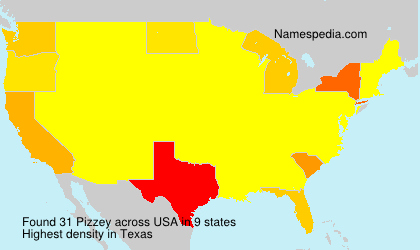 Surname Pizzey in USA